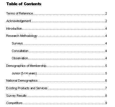 Business Document Writing: Inserting A Table Of Contents