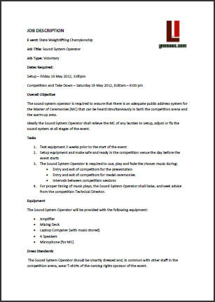 Job description examples inenx for Example of a job description template