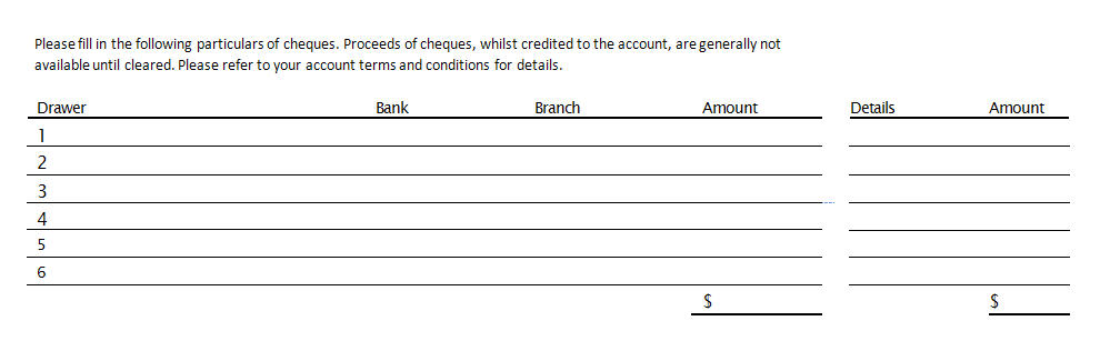 Source documents the bank deposit slip for Checking deposit slip template